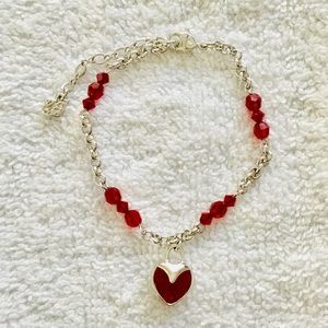 Swarovski Red Heart Dangle Bracelet